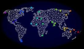 2D Mesh Map poligonal do mundo com os pontos de luz brilhantes do espectro ilustração stock