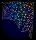 2D Mesh Map poligonal do Sul da Austrália com os pontos claros coloridos ilustração stock