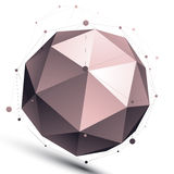 3D mesh modern spherical abstract object, origami futuristic sym Royalty Free Stock Photo