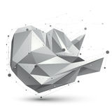 3D mesh modern vector polygonal abstract object, origami futuris. Tic symbol with lines mesh Royalty Free Stock Images