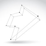 3d mesh monochrome forward arrow  on white background, b Royalty Free Stock Photography