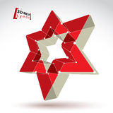 3d mesh soviet red star sign  on white background, color Royalty Free Stock Image