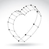 3d mesh stylish web monochrome love heart sign  on white Royalty Free Stock Photo