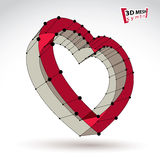 3d mesh stylish web red love heart sign isolated on white backgr Royalty Free Stock Photography