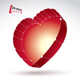 3d mesh stylish web red love heart sign  on white backgr Stock Photography