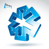 3d mesh web blue ambulance icon  on white background, co Royalty Free Stock Photography