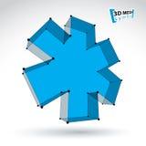 3d mesh web blue ambulance icon  on white background, co Stock Image