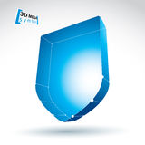 3d mesh web blue security icon isolated on white background, col Royalty Free Stock Image