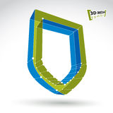 3d mesh web green security icon  on white background, co Stock Photo