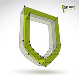 3d mesh web green security icon Stock Images