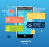 3d messaggero realistico Communication Concept Smartphone che chiacchiera con il Bot di chiacchierata Vettore Immagine Stock