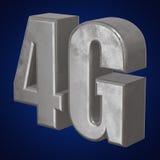 3D metaal4g pictogram op blauw Stock Foto