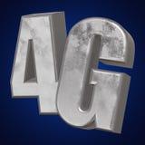 3D metaal4g pictogram op blauw Royalty-vrije Stock Afbeeldingen