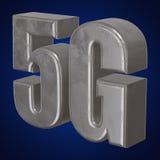 3D metaal5g pictogram op blauw Stock Afbeelding