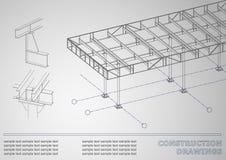 3D metaalbouw De stralen en de kolommen Stock Fotografie