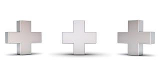 3d metaalplusteken met drie verschillende die meningshoeken op witte achtergrond worden geïsoleerd Stock Afbeelding