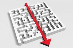 3D metaforen, labyrint, labirynth, oplossing, probleem, hindernis, het oplossen, pijl royalty-vrije illustratie