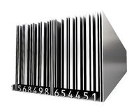 3d metal bar code. Isolated on white background Stock Photography