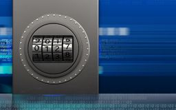 3d metal box code dial. 3d illustration of metal box with code dial over cyber background Stock Image