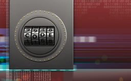 3d metal box code dial Stock Photos