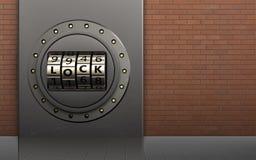 3d metal box metal box. 3d illustration of metal box with code lock door over red bricks background Stock Photo