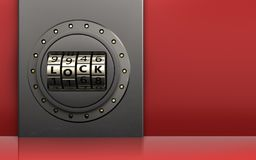 3d metal box metal box. 3d illustration of metal box with code lock door over red background Stock Photo
