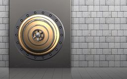 3d metal box metal box. 3d illustration of metal box with golden vault door over white stones background Stock Images