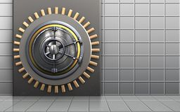 3d metal box metal box. 3d illustration of metal box with wheel door over white wall background Royalty Free Stock Image