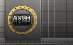 3d metal box metal box. 3d illustration of metal box with code dial over steel wall background Stock Image