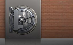 3d metal box metal box. 3d illustration of metal box with steel door over red bricks background Stock Photo