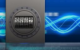 3d metal box safe. 3d illustration of metal box with code dial over digital waves background Stock Photos