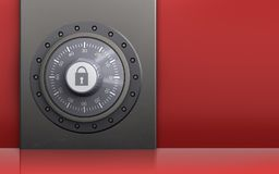 3d metal box safe. 3d illustration of metal box with combination lock over red background Royalty Free Stock Photography
