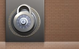 3d metal box safe. 3d illustration of metal box with lock over bricks wall background Stock Photo