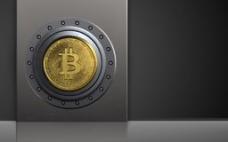 3d metal box safe. 3d illustration of metal box with bitcoin safe over black background Royalty Free Stock Photography