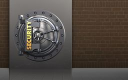 3d metal box security door. 3d illustration of metal box with security door over bricks background Royalty Free Stock Photography
