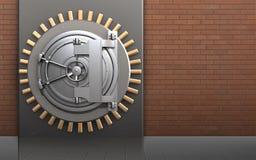 3d metal box steel bank door. 3d illustration of metal box with steel bank door over red bricks background Stock Photos
