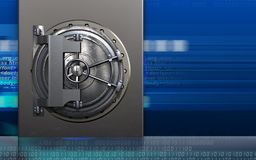 3d metal box steel door. 3d illustration of metal box with steel door over cyber background Stock Images