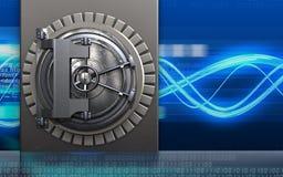 3d metal box steel door. 3d illustration of metal box with steel door over digital waves background Royalty Free Stock Photos