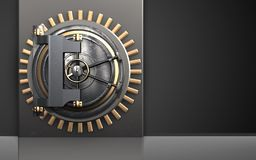 3d metal box vault door. 3d illustration of metal box with vault door over black background Royalty Free Stock Photo