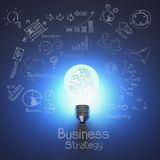 3d metal brain inside light bulb. And drawing business strategy as concept Stock Images
