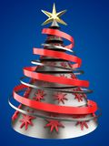 3d metal Christmas tree. 3d illustration of metal Christmas tree over blue background with red stars decoration Royalty Free Stock Photo