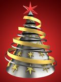 3d metal Christmas tree. 3d illustration of metal Christmas tree over red background with decoration Stock Photos