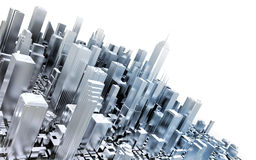 3D metal city. Isolated on white background Royalty Free Stock Images