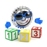 3d Metal cog learns to count Stock Photo