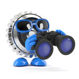 3d Metal cog looks through binoculars Royalty Free Stock Photography