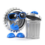3d Metal cog takes out the trash Royalty Free Stock Photography