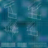 3D metal construction. The beams and columns. Cover, background for inscriptions. Construction drawings. Blue. Grid Royalty Free Stock Photography