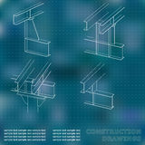 3D metal construction. The beams and columns. Cover, background for inscriptions. Construction drawings. Blue. Points Royalty Free Stock Images