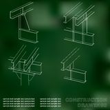 3D metal construction. The beams and columns. Cover, background for inscriptions. Construction drawings. Green Stock Photos