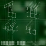 3D metal construction. The beams and columns. Cover, background for inscriptions Royalty Free Stock Photo